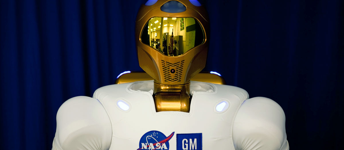 High quality, production photo of the Robonaut 2 robot.