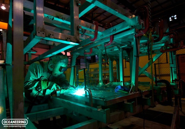oceaneering employee welding rov cage