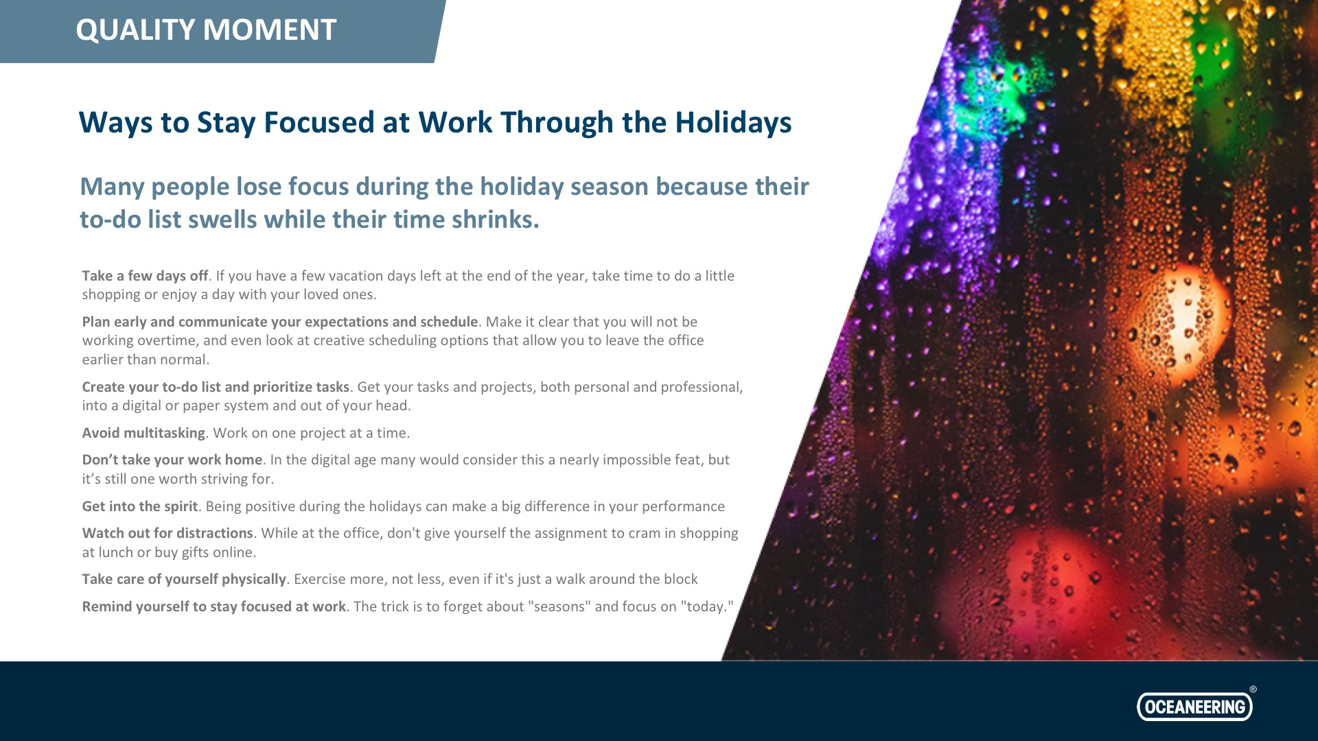Ways To Stay Focused At Work Through The Holidays